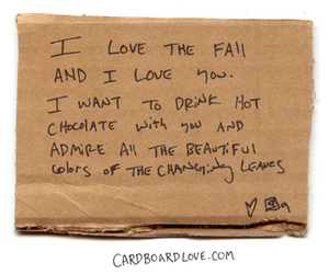 love, autumn, and cardboard image