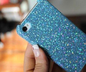 blue, iphone, and glitter image