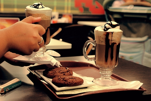 food, chocolate, and cappuccino image