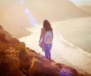 backpack, beach, and girl image