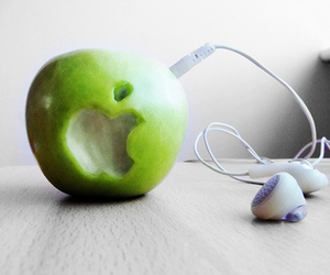 apple, music, and green image