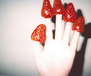 strawberry, hand, and vintage image