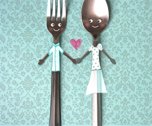 love, fork, and spoon image