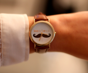 watch, moustache, and hello image