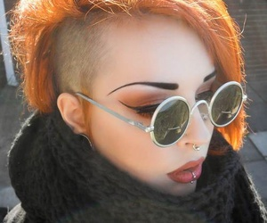 piercing, hair, and glasses image