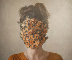 butterfly, girl, and face image