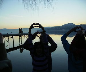 hearts, lake, and sunset image