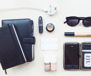 black, iphone, and lipstick image