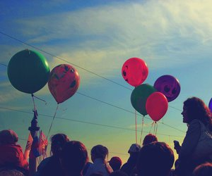 baloons, people, and colorful image