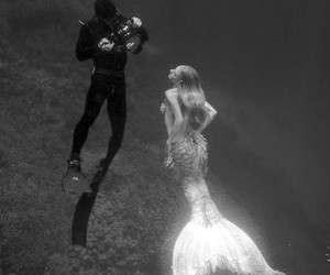 diver, sea, and black and white image
