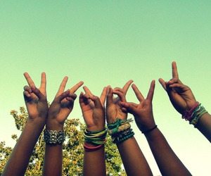 bracelets, peace, and hands image