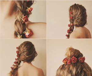 braid, roses, and bun image
