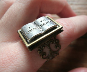 book, ring, and love image