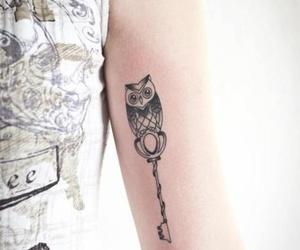 tattoo, owl, and key image