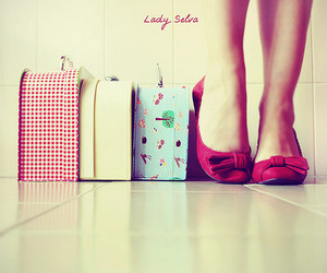 girl, retro, and suitcase image