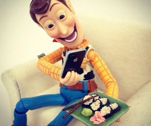 sushi, woody, and toy story image