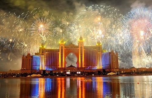 Dubai, fireworks, and hotel image