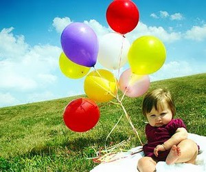 baby, balloons, and photography image