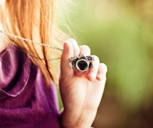 girl, camera, and necklace image