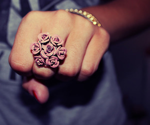 ring, flowers, and rose image