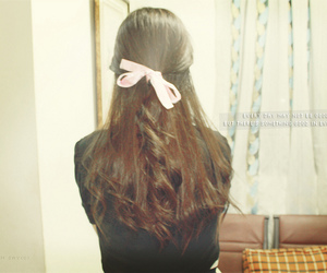 back, bow, and brown hair image