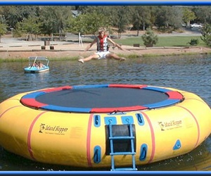 water trampoline and inflatable iceberg image