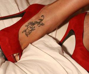 red, tattoo, and shoes image