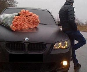 bmw, car, and flowers image