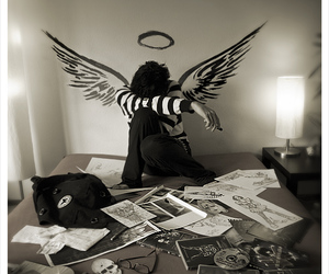 angel, emo, and black and white image