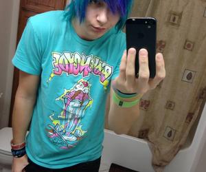 blue hair, boy, and scene image