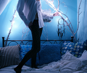 blue, bedroom, and bed image