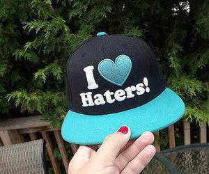 hat, love, and haters image
