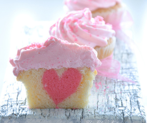 cupcake, pink, and heart image