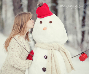red, snowman, and snow image