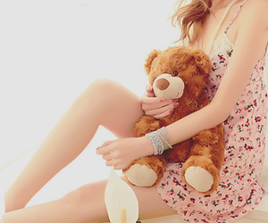 girl, cute, and bear image