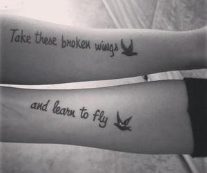 black and white, wings, and cute image