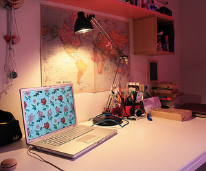room, map, and laptop image