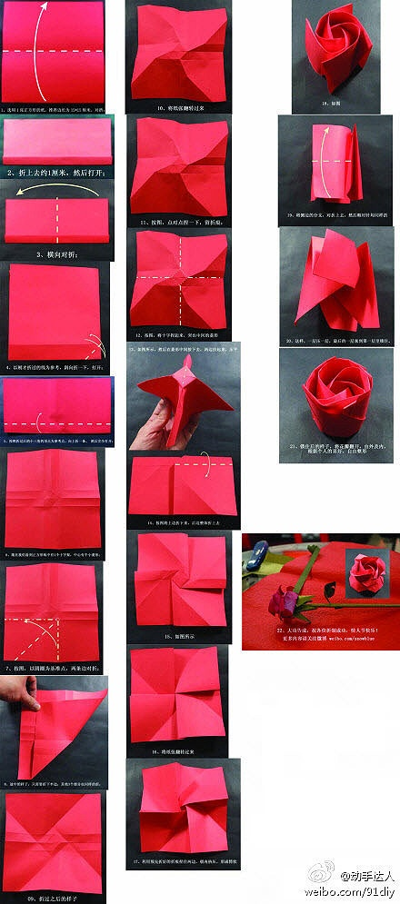 How to Fold a Paper Rose (with Pictures) - wikiHow | 995x440