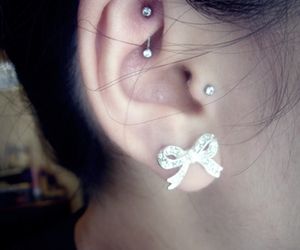 piercing, tragus, and bow image