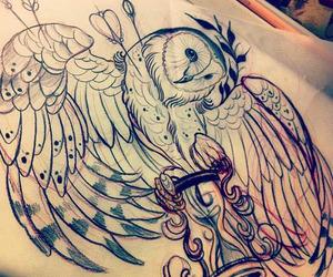 drawing, owl, and tattoo image