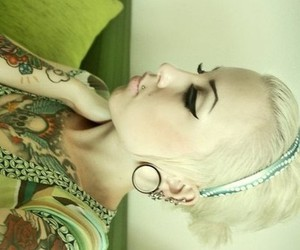 blonde, make-up, and Plugs image