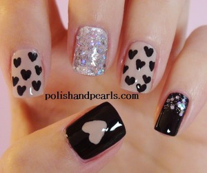 nails, black, and hearts image