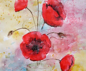 blue, red flowers, and original painting image