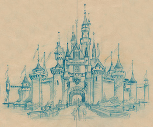 disney, castle, and drawing image