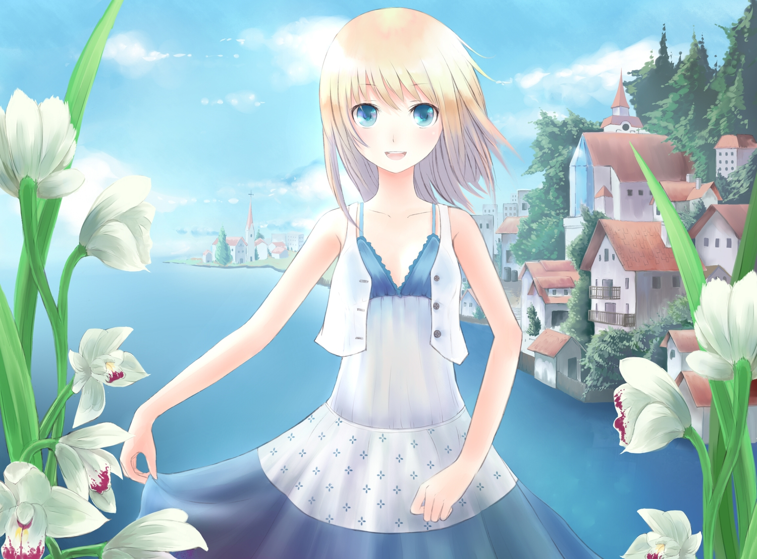Blonde hair blue eyes building flowers minato shouno original sky tree konachan com konachan com anime wallpapers