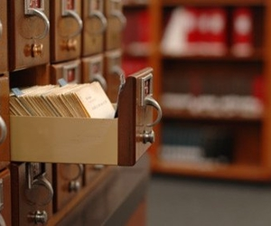card catalog and library image