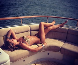 bikini, boat, and lying down image