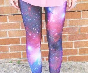 girl, galaxy, and leggings image