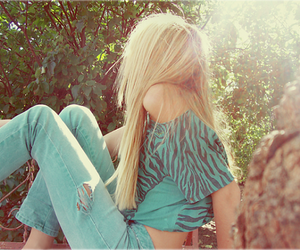 girl, blonde, and blue image