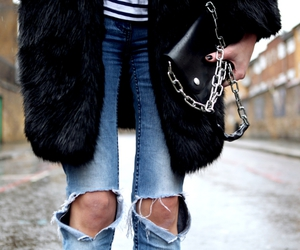 bag, ripped jeans, and chain image